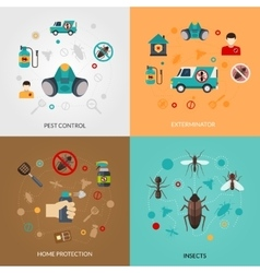 Exterminator Pest Contro 4 Flat Icons vector image vector image