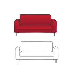red sofa and outline isolated on white background vector image