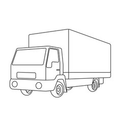 truck with awningcar single icon in outline style vector image
