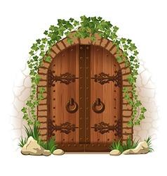 Wooden door with ivy vector image vector image