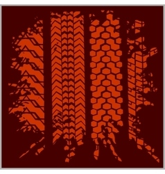 Car tire tracks with grunge - set vector image
