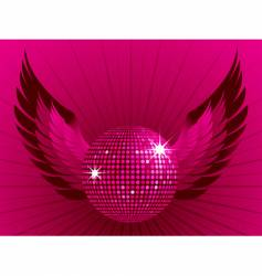 disco ball and wings vector image vector image