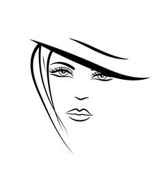 hand drawn portrait of beautiful girl vector image