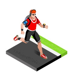 Marathon Runners Gym Working Out 3D Isometric vector image