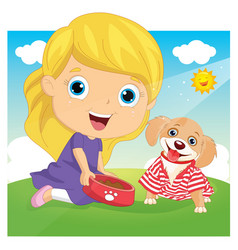 of a little girl playing with vector image vector image