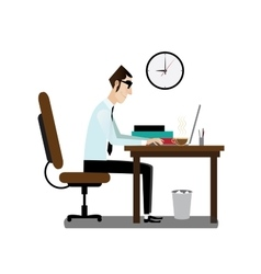 Office man sitting at working desk vector image vector image