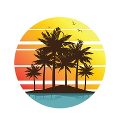 Plam tree sunset 3 vector
