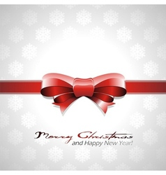 red bow Christmas background vector image