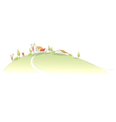 Rural houses green mountain vector image vector image