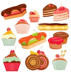 Set of Cakes Isolated vector image vector image