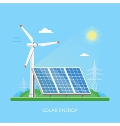 Solar panels power plant and factory green energy vector