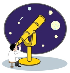 Astronomer with telescope vector image