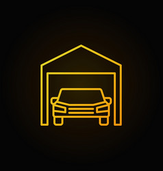 car in garage yellow icon - outline sign vector image