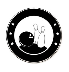 circular frame with bowling pins and ball vector image
