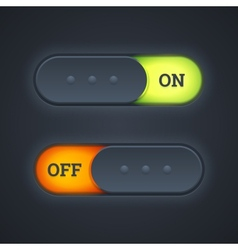On and off switch toggle buttons vector image