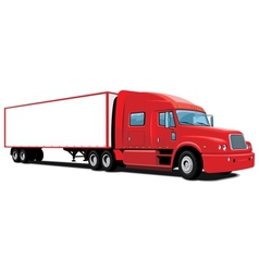 Red semi truck vector image
