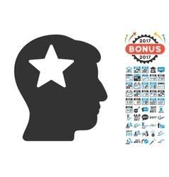 Star Head Icon With 2017 Year Bonus Pictograms vector image