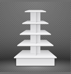 white exhibition stand with square shelves retail vector image