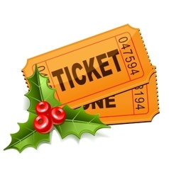 Christmas Sale Tickets with the mistletoe vector image vector image