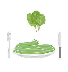 Green pasta with ingredient spinach Spaghetti on a vector image
