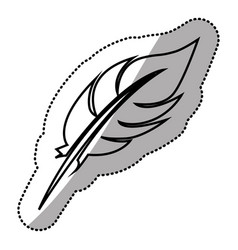 monochrome sticker silhouette with single feather vector image