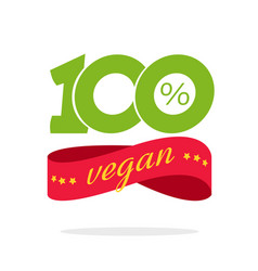 100 percent vegan food label or badge icon vector image