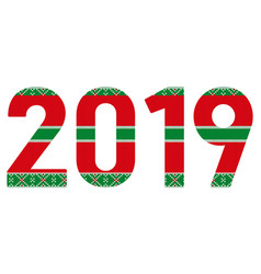 2019 knitteg greeting card for the new year and vector image