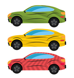 a set of three cars painted in different colors vector image