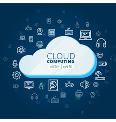 Abstract cloud and social media network icons vector image