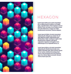 abstract flyer template with colorful hexagon vector image