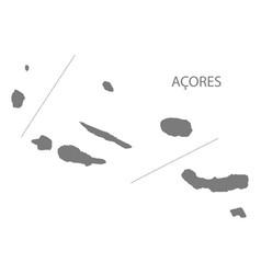 Acores portugal map grey vector