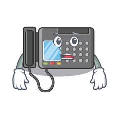 Afraid fax machine above cartoon table vector