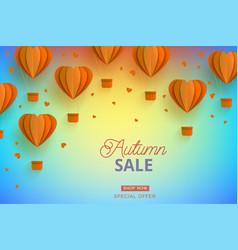 Autumn sale template papercut air balloon vector