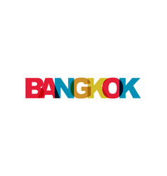 bangkok phrase overlap color no transparency vector image