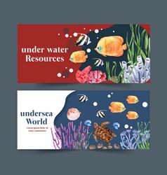 Banner design with sealife theme creative vector