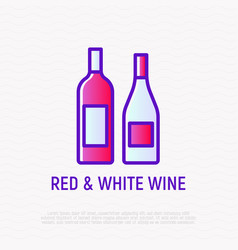 bottles with red and white wine thin line icon vector image