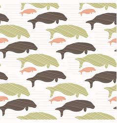 brown and green seal manatee silhouette wave vector image
