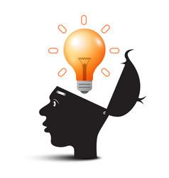 bulb above open head idea symbol creative vector image