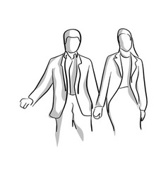 businessman and businesswoman holding hand with vector image