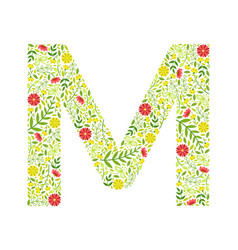 Capital letter m green floral alphabet element vector