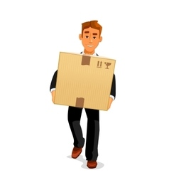 Cartoon courier delivering a parcel to recipient vector