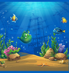Cartoon fish in underwater world vector