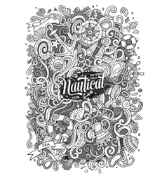 Cartoon nautical doodle vector image