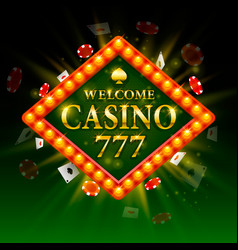 casino signboard welcome billboard 777 shining vector image