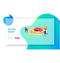 Characters eating spaghetti pasta with sauce from vector