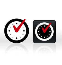 check mark on clock isolated vector image