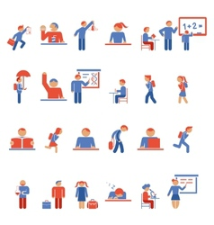 Children in school flat icons vector image