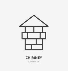 chimney flat line icon real estate sign thin vector image