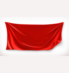 cloth red banner 3d realistic vector image