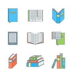 Colored outline books icons set vector